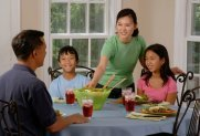 family around table, healthy eating habits