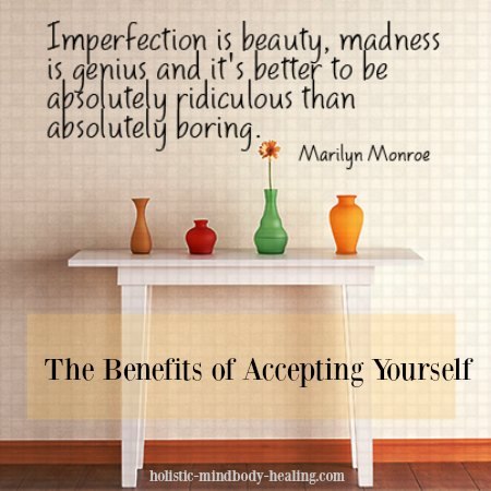 benefits of accepting yourself, imperfection is beauty Marilyn Monroe quote