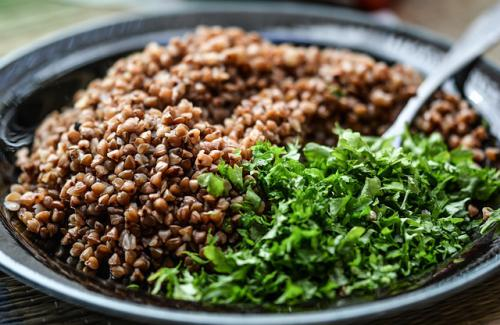 healthy living diet foods buckwheat groats and greens