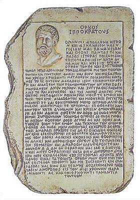 hippocrates on stone tablet