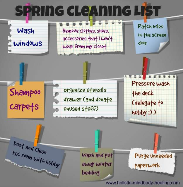 healthy home detox, spring cleaning list